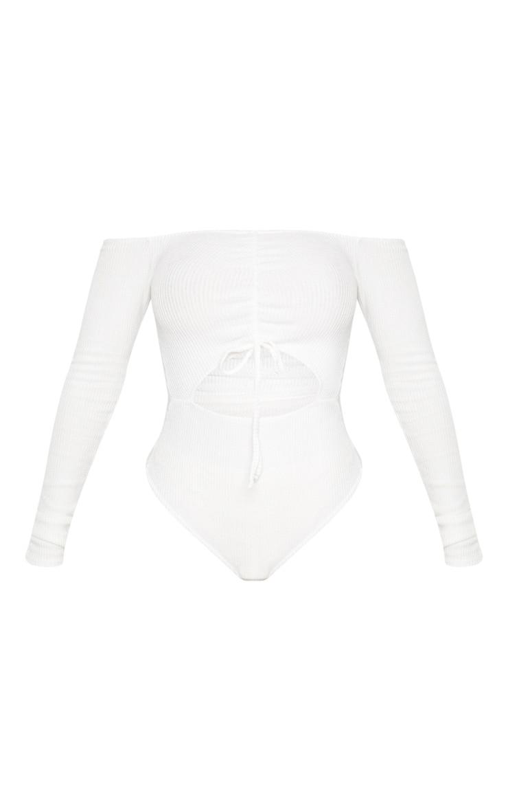 Shape Cream Brushed Rib Bardot Ruched Bodysuit 3