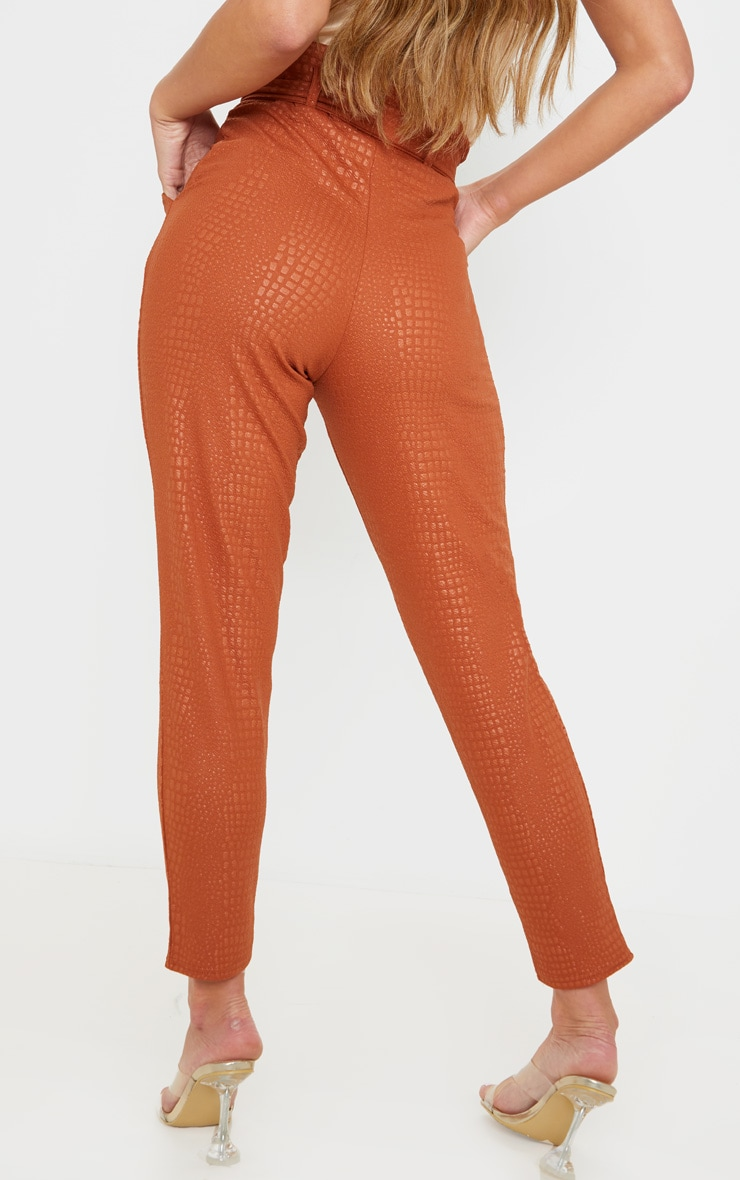 Tan Croc Print D Ring Belted Skinny Trousers 4