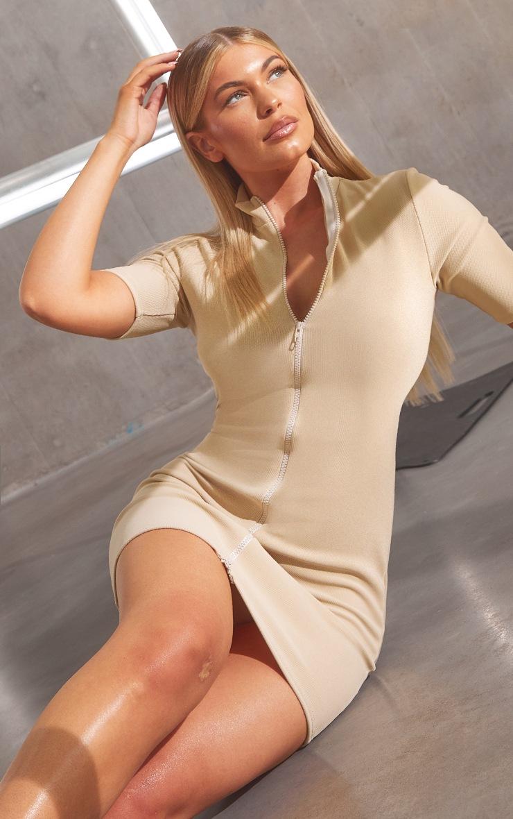 RENEW Beige Rib Double Zip Short Sleeve Bodycon Dress 3