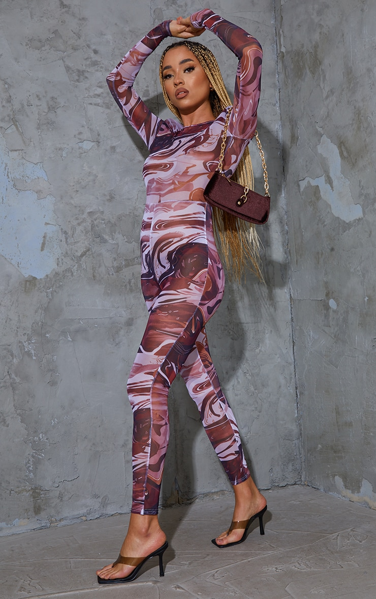 Chocolate Abstract Print Mesh Jumpsuit 3