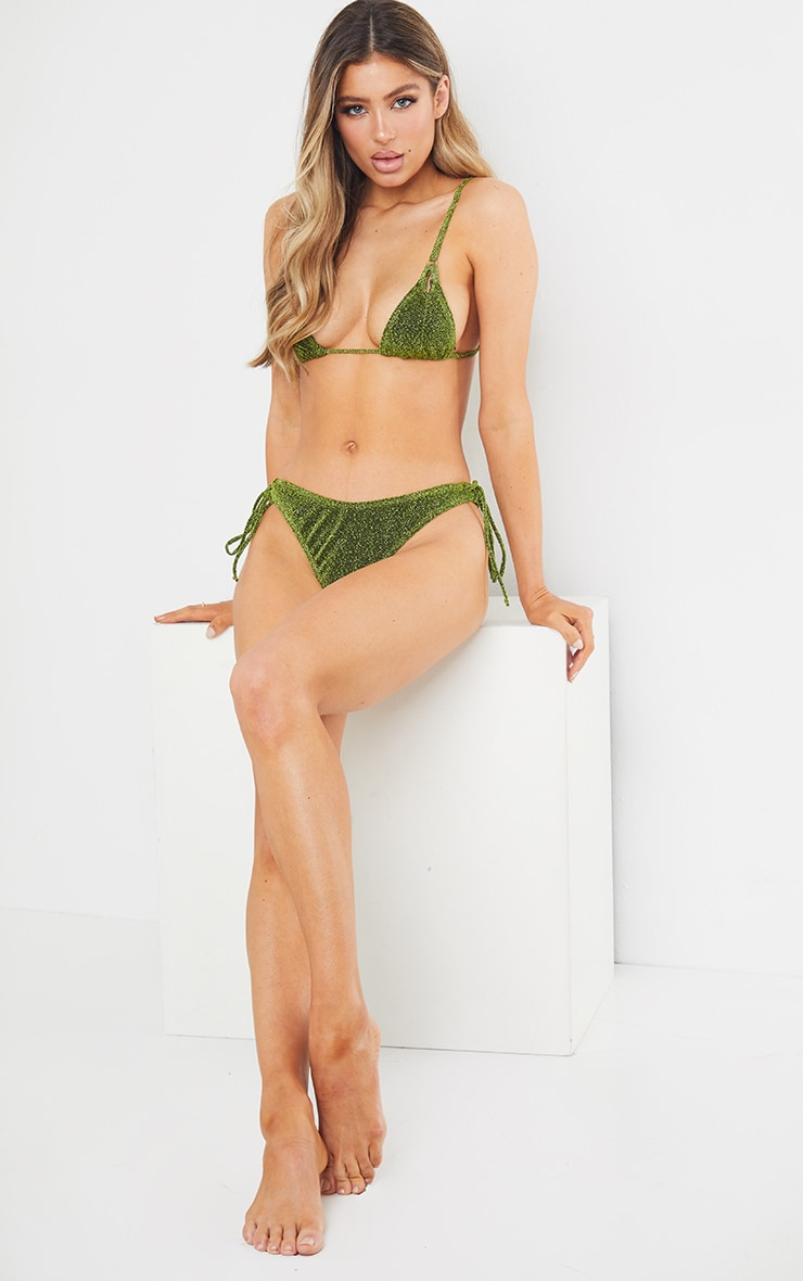Green Glitter Triangle Cut Out Bikini Top 3