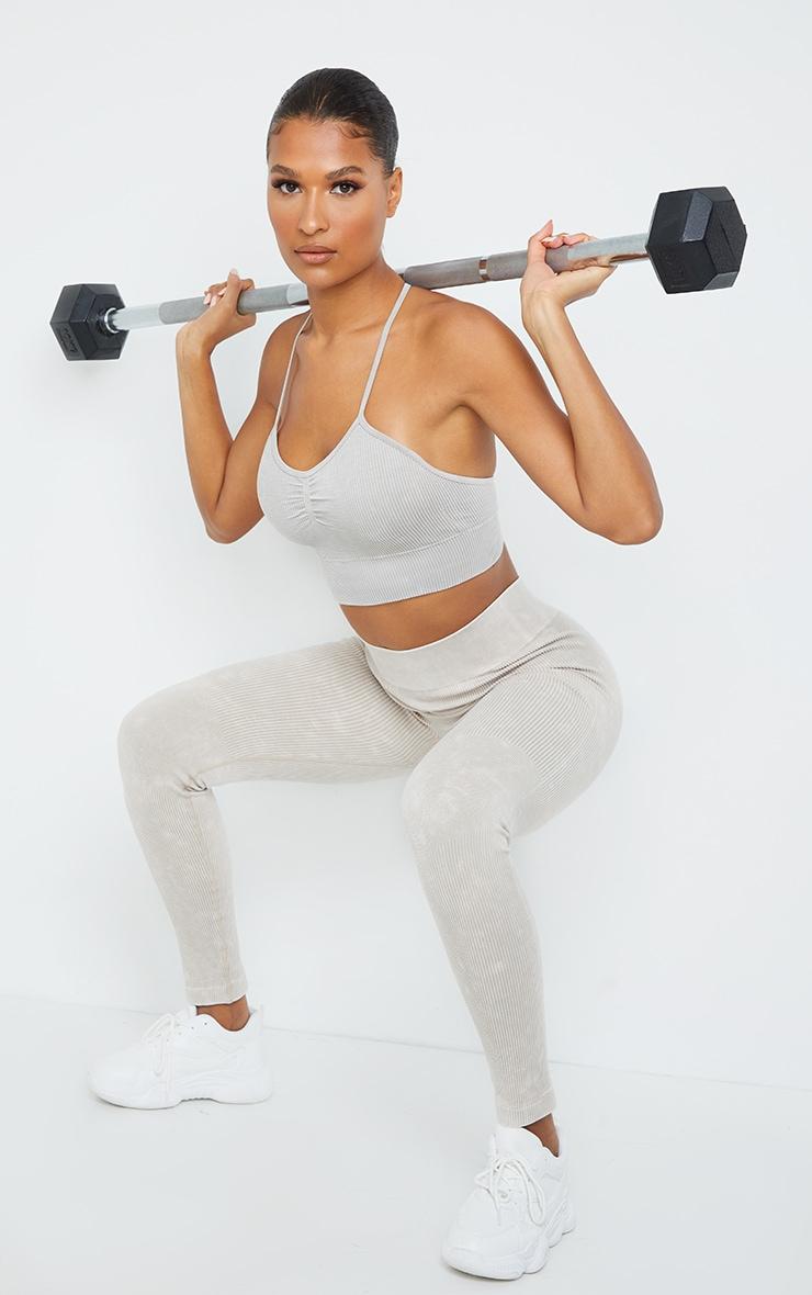 Grey Acid Wash Seamless Soft Rib High Waist Gym Legging 1