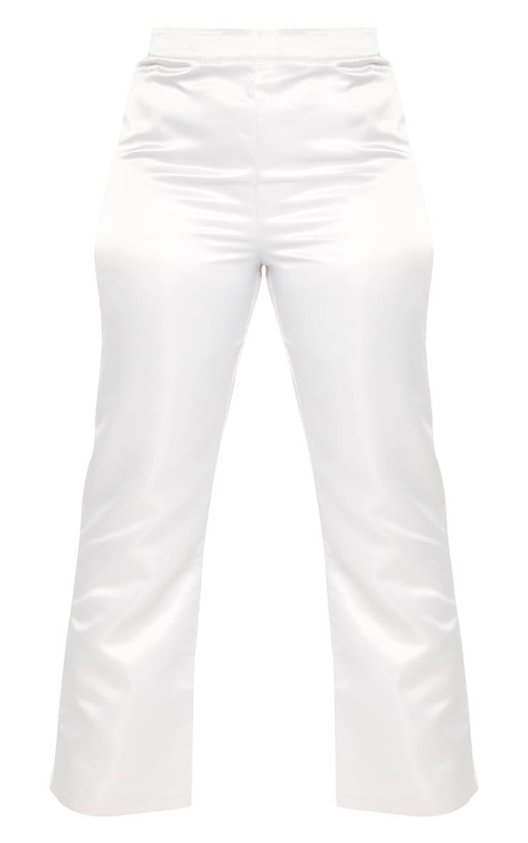PLT Plus - Pantalon satiné argenté jambes évasées 3