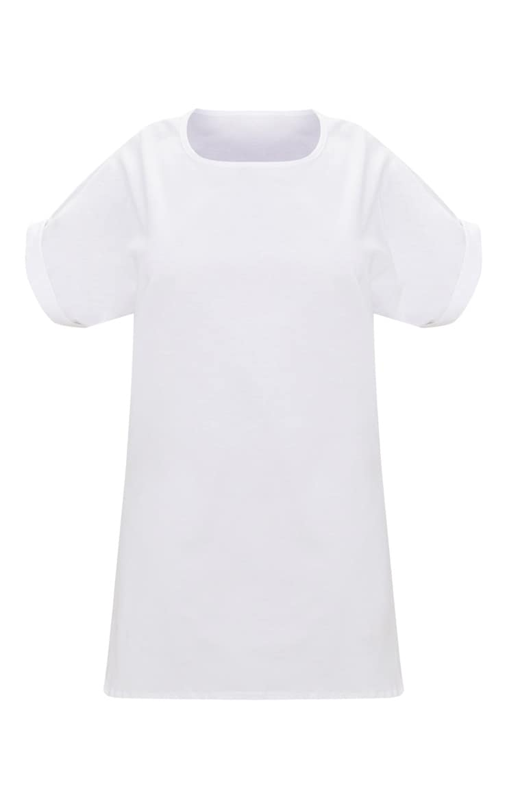 PLT Plus - Robe tee-shirt blanche oversized à manches courtes à revers 3