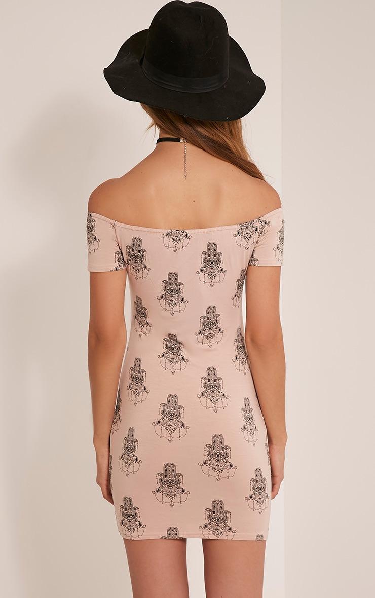 Lisa Nude Hamsa Hand Print Bardot Dress 2