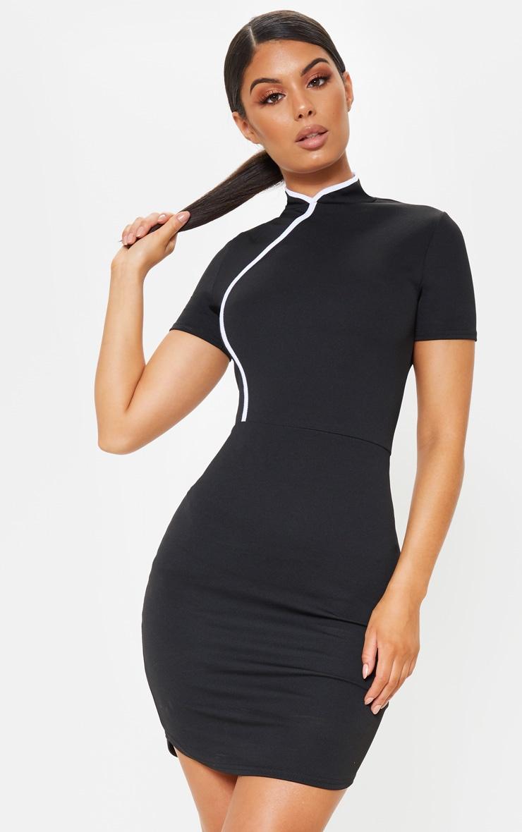 Black Oriental Short Sleeve Bodycon Dress Prettylittlething