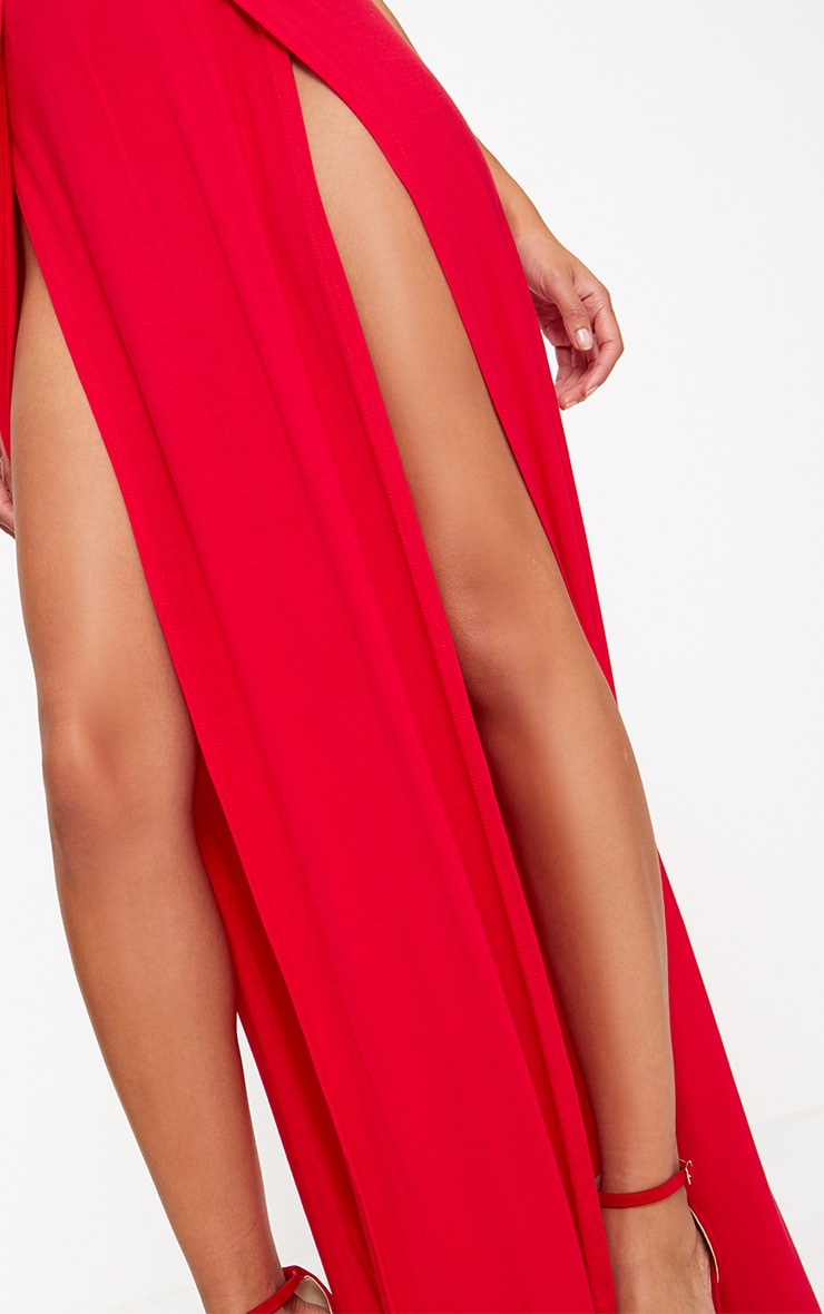 Red Double Split Maxi Skirt  5