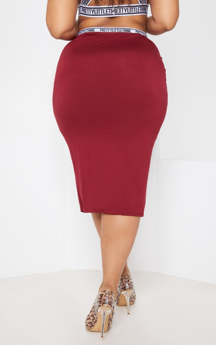PRETTYLITTLETHING Plus Maroon Midi Skirt 5