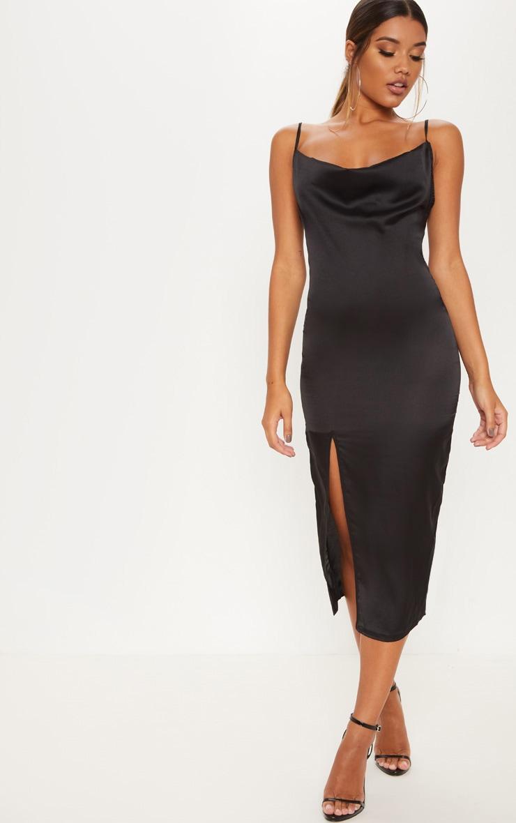 Black Strappy Satin Cowl Midi Dress 4