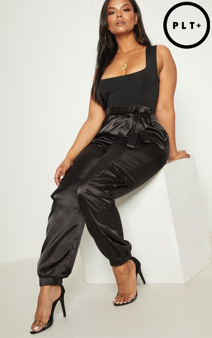 Plus Black Satin Cargo Trousers   1
