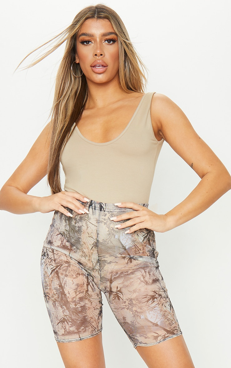 Nude Washed Oriental Print Mesh Cycle Shorts 1