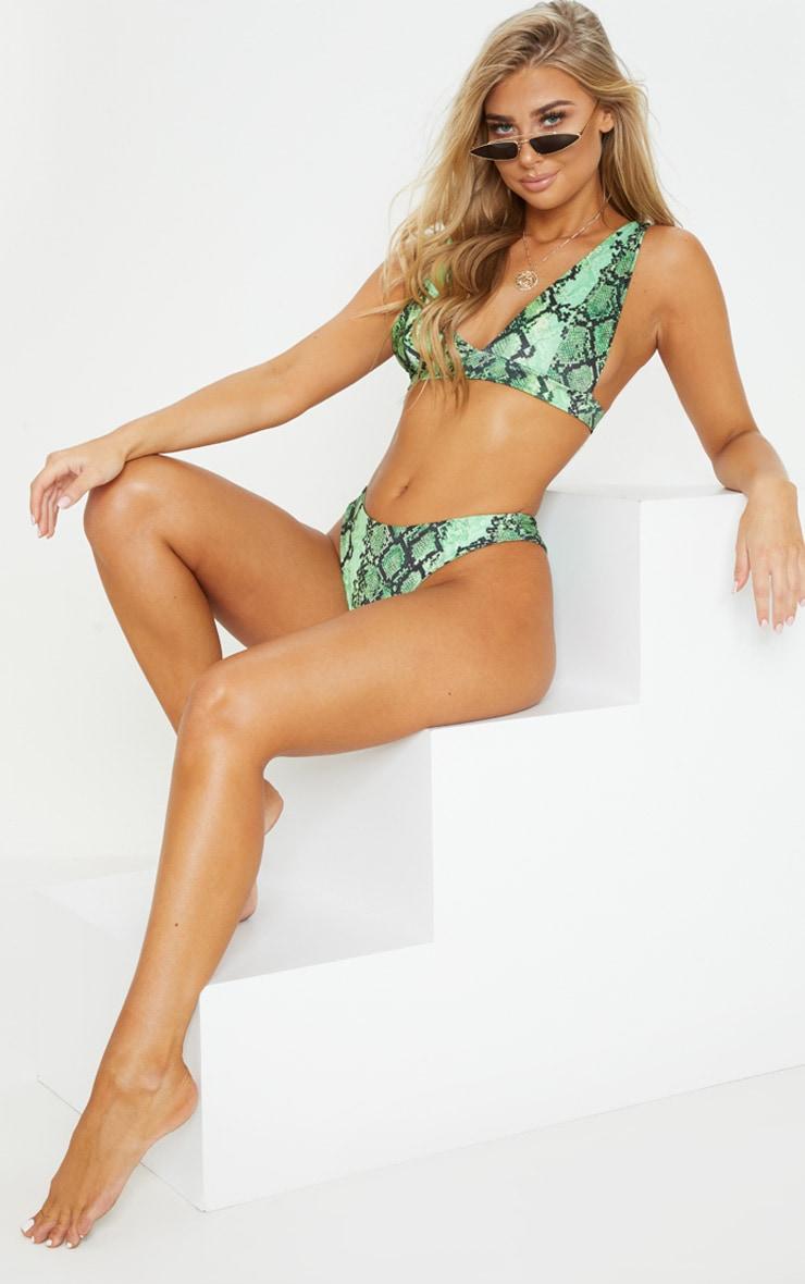 Green Snake High Apex Bikini Top 1