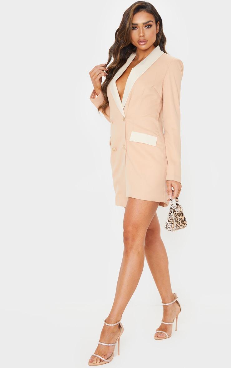 Cream Gold Button Contrast Blazer Dress 4