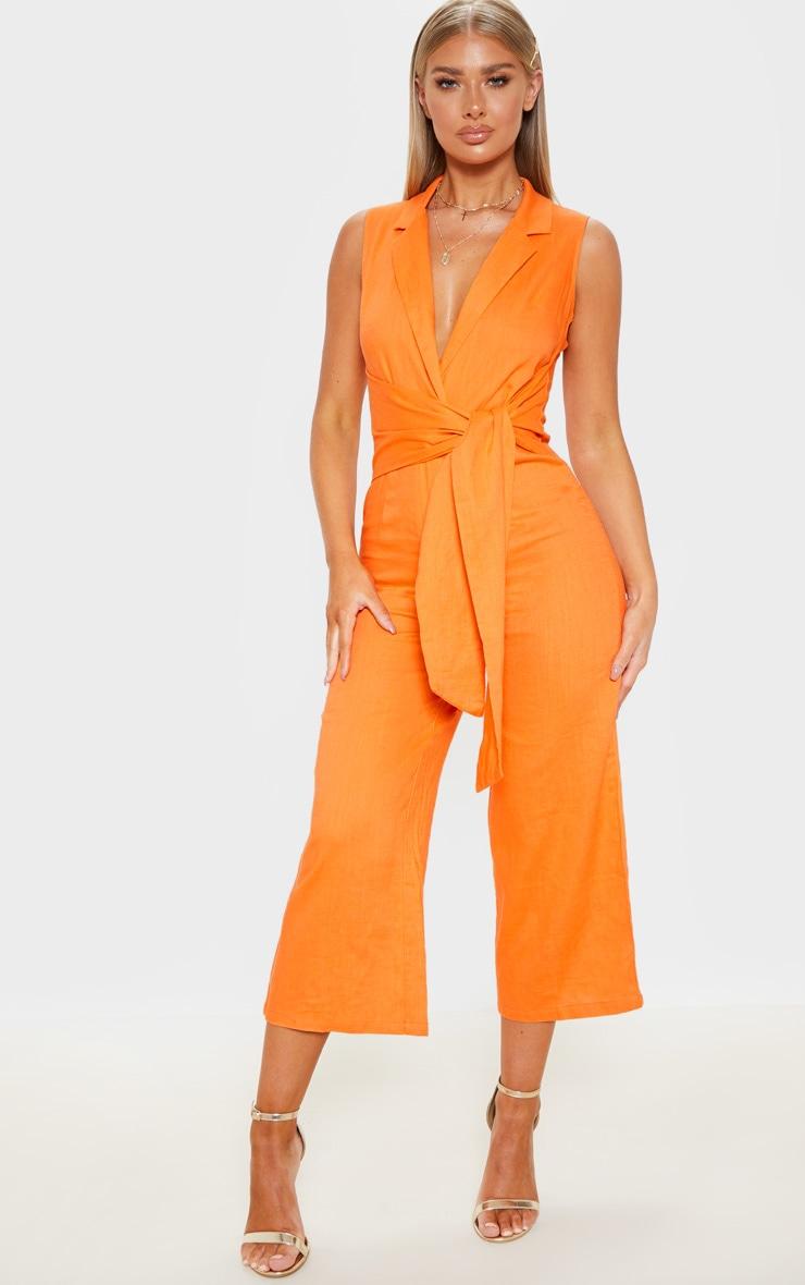 Bright Orange Blazer Style Tie Waist Jumpsuit 1