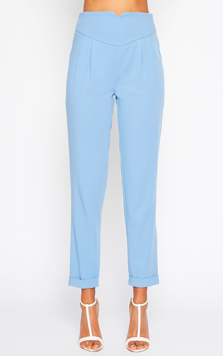 Elenor Blue High Waisted Tapered Pants 3