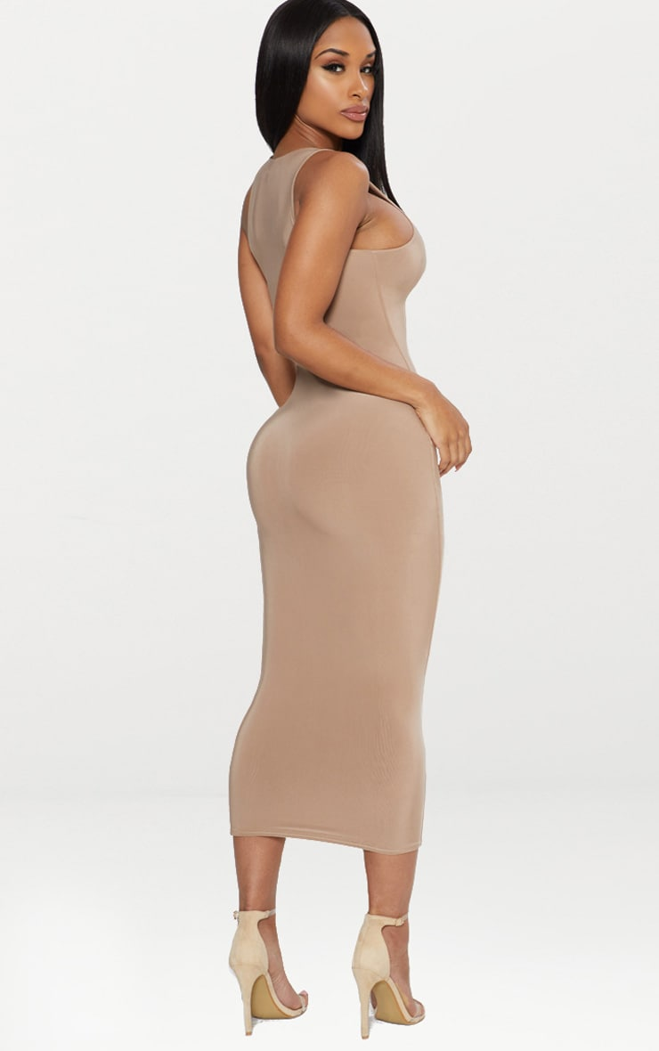 Taupe Second Skin Slinky Racer Neck Midaxi Dress 2