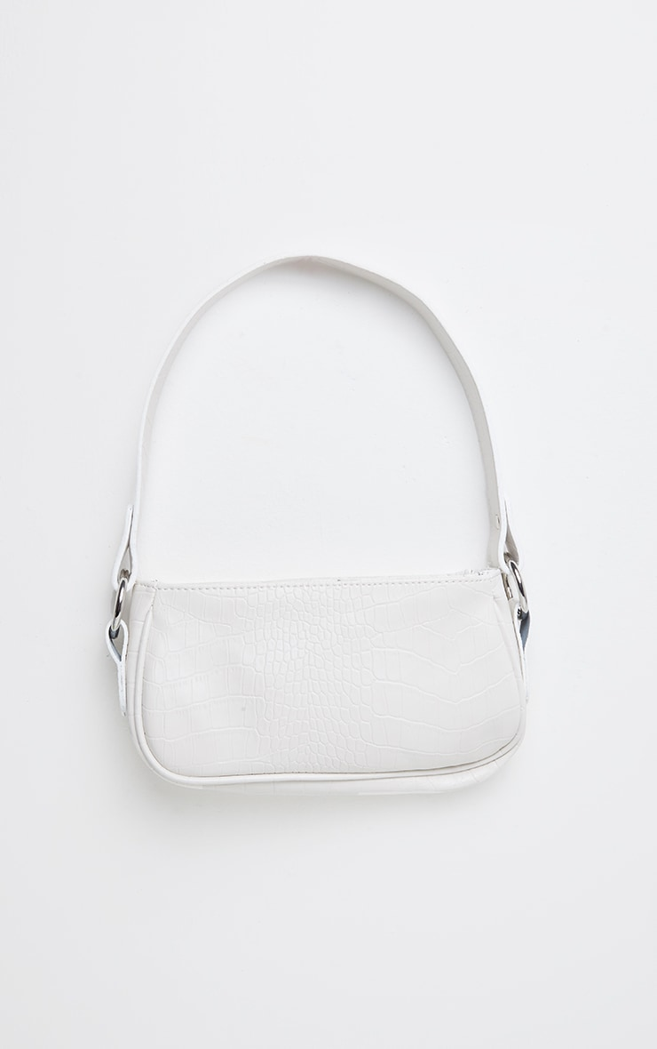 White PU Croc Shoulder Bag 1