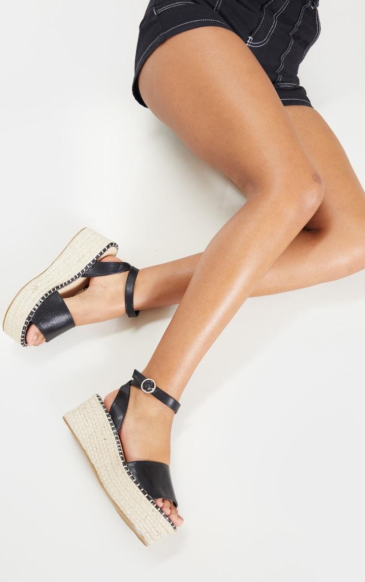 Black Snake Embossed Espadrille Flatform Sandal 2