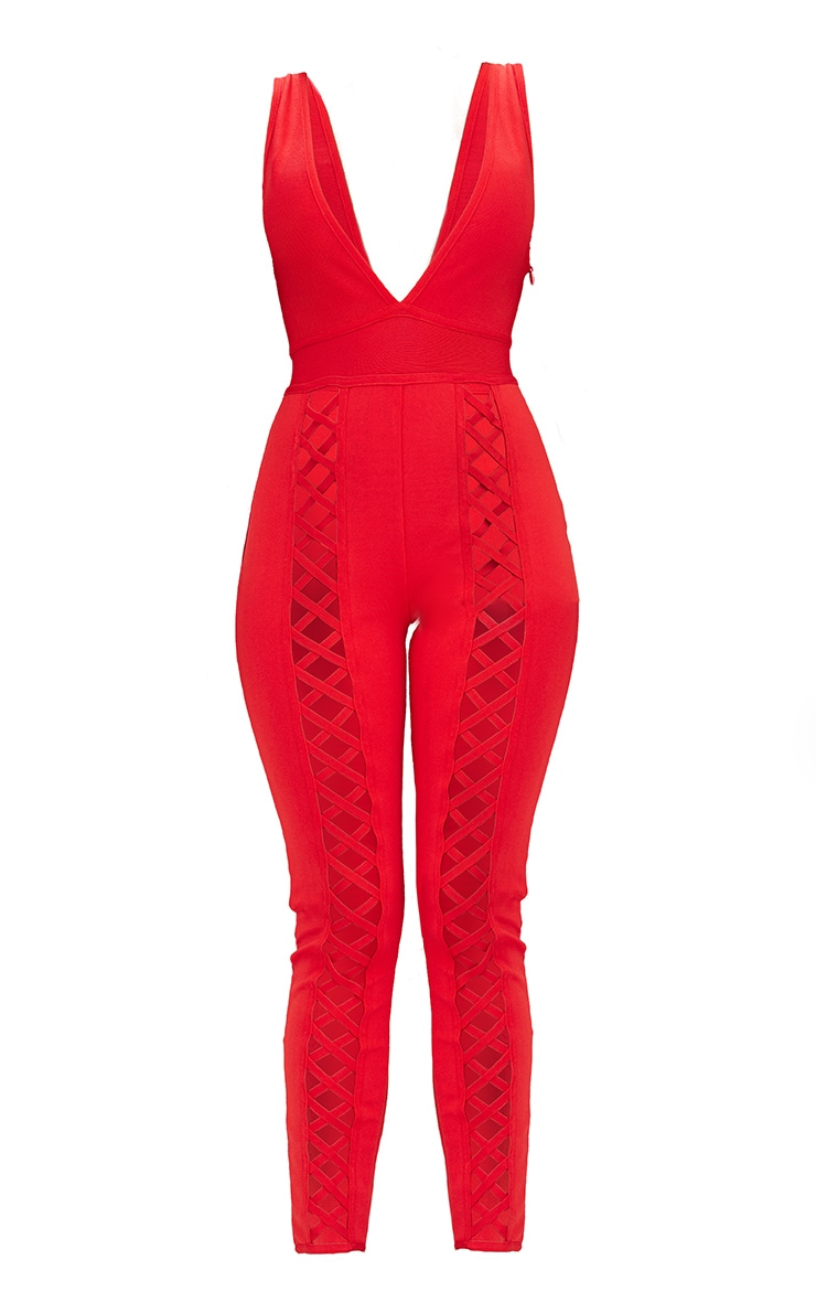 Red Bandage Lattice Leg Jumpsuit 3