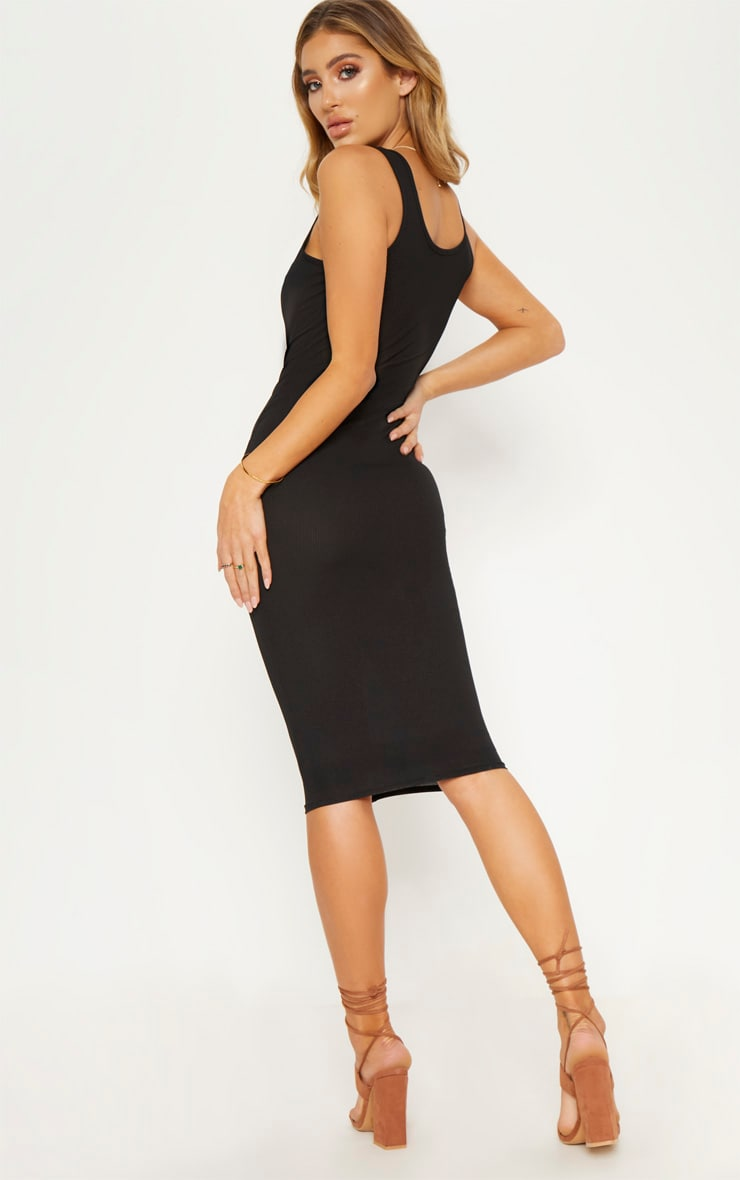 Black Ribbed Button Detail Midi Dress 3
