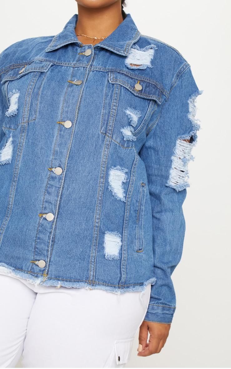 Plus Light Wash Distress Oversized Denim Jacket 5