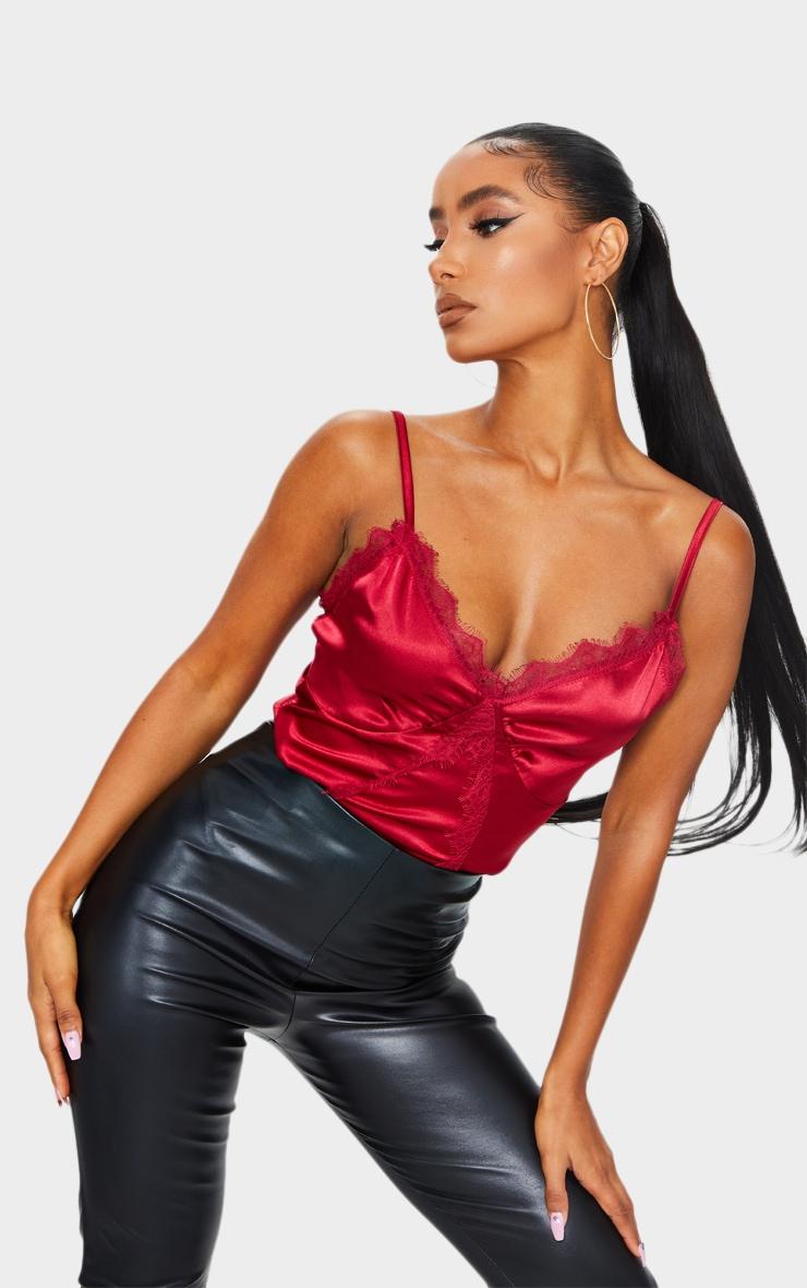 Scarlet Satin Lace Trim Detail Bodysuit 1