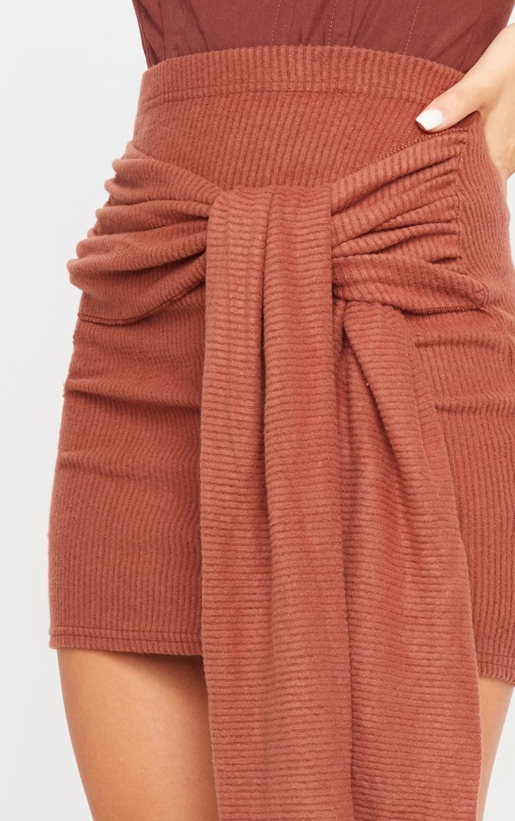 Chocolate Tie Detail Brushed Rib Mini Skirt 5