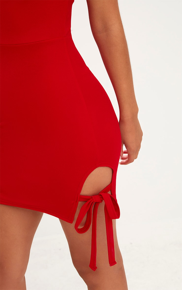 Red Thigh Tie Detail Bodycon Dress 5