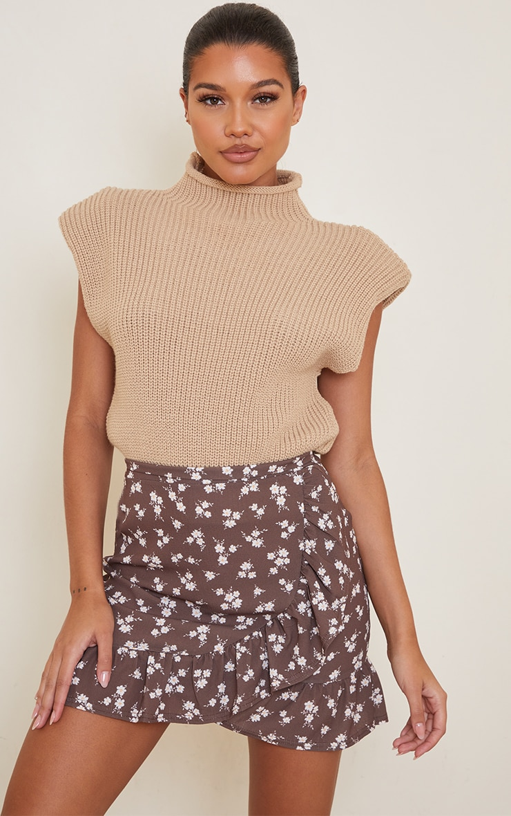 Brown Ditsy Floral Print Frill Hem Wrap Mini Skirt 4