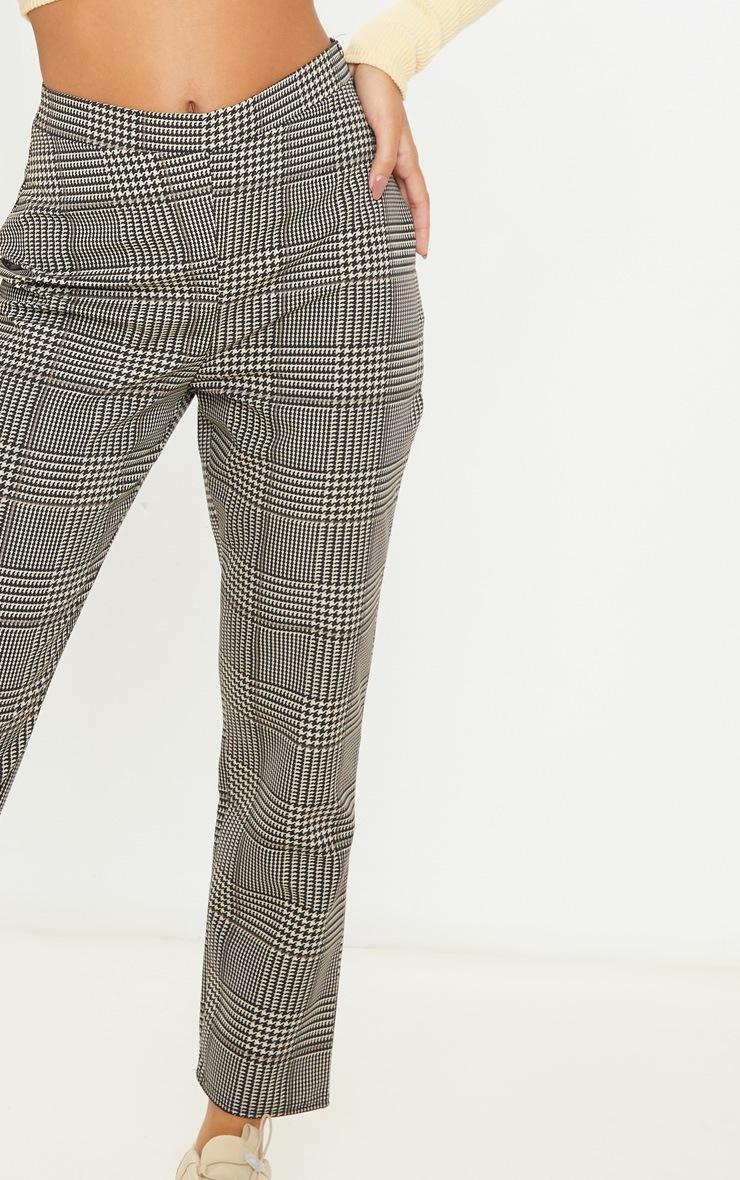Pantalon cigarette en maille tissée à carreaux gris 5