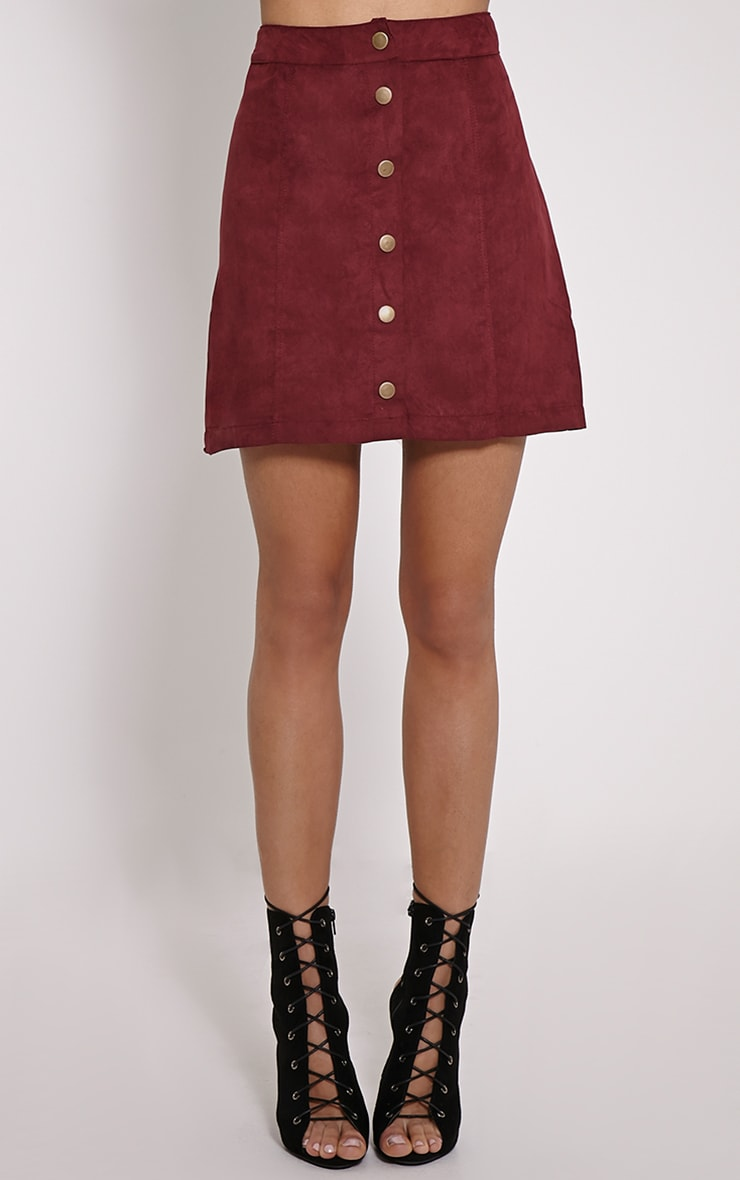Cheryl Oxblood Suede Button Front Skirt 2