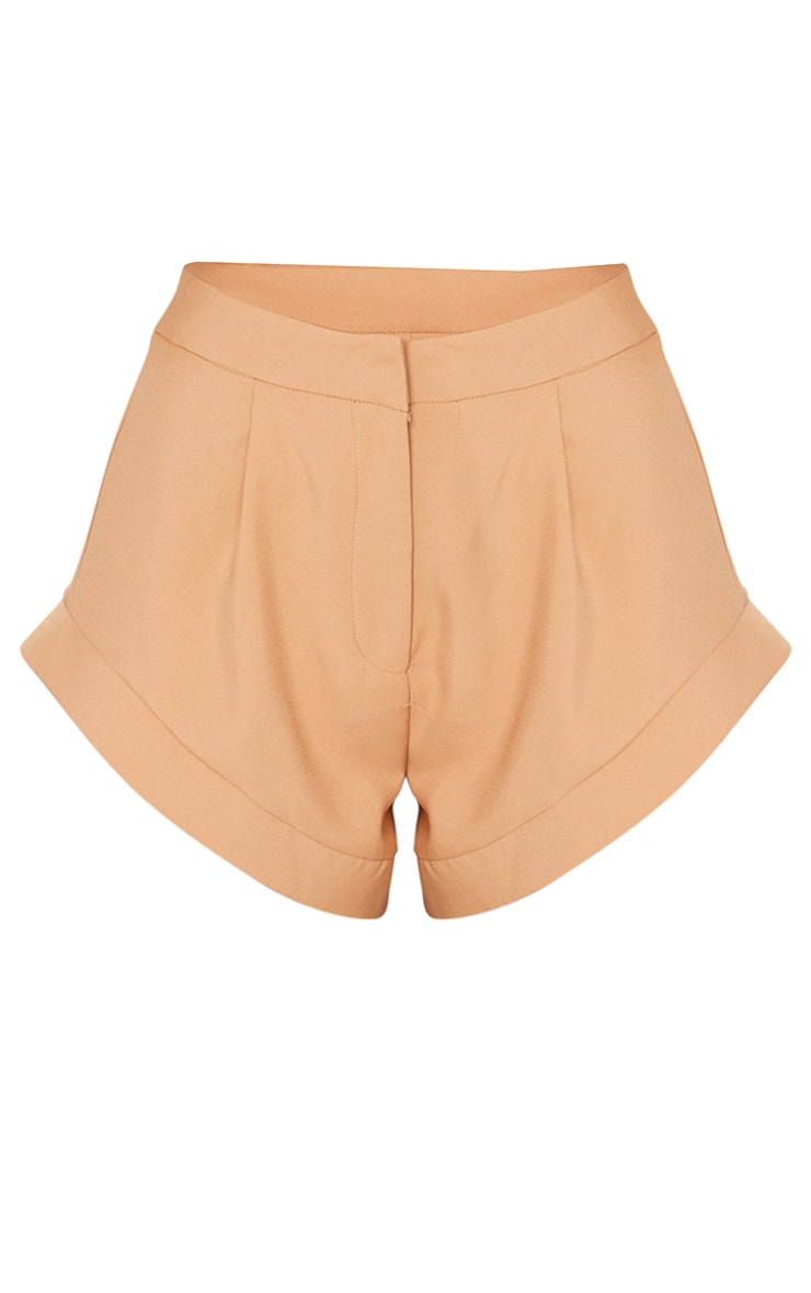 Stone Woven High Leg Turn Up Hem Shorts 6