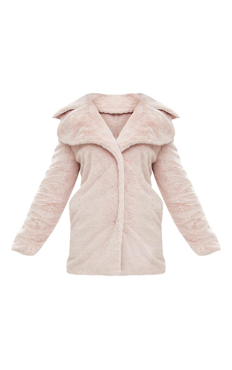 Pink Mid Length Faux Fur Coat 3