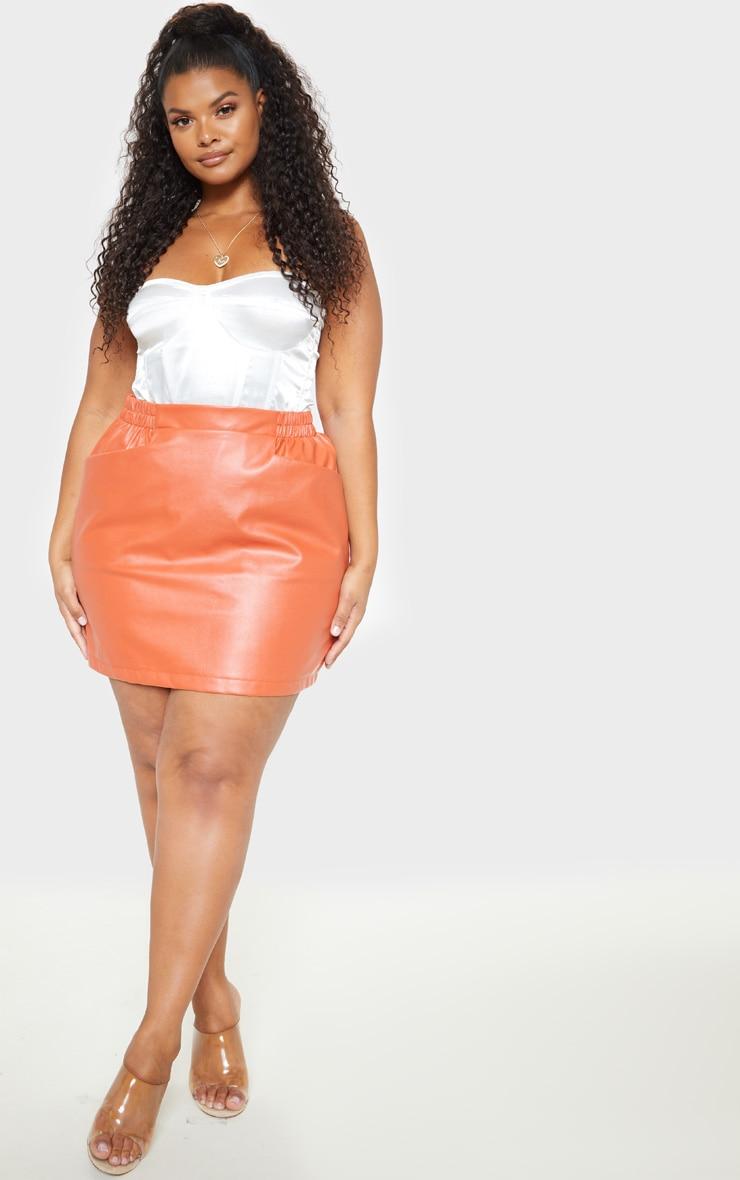 85939be1d65 Plus Burnt Orange Pu Pocket Mini Skirt | PrettyLittleThing USA
