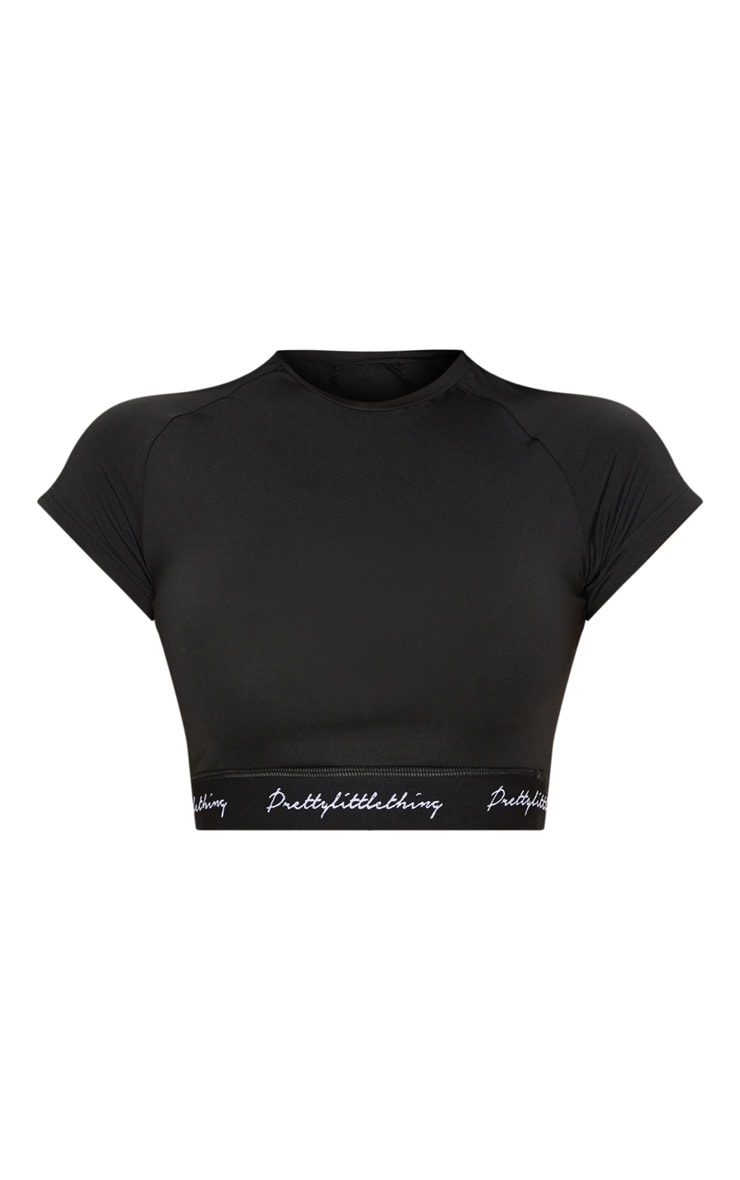 PRETTYLITTLETHING Black Band Short Sleeve Crop Top 4