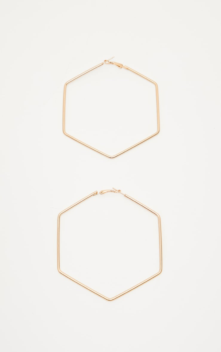 Gold Large Hexagon Hoops 2