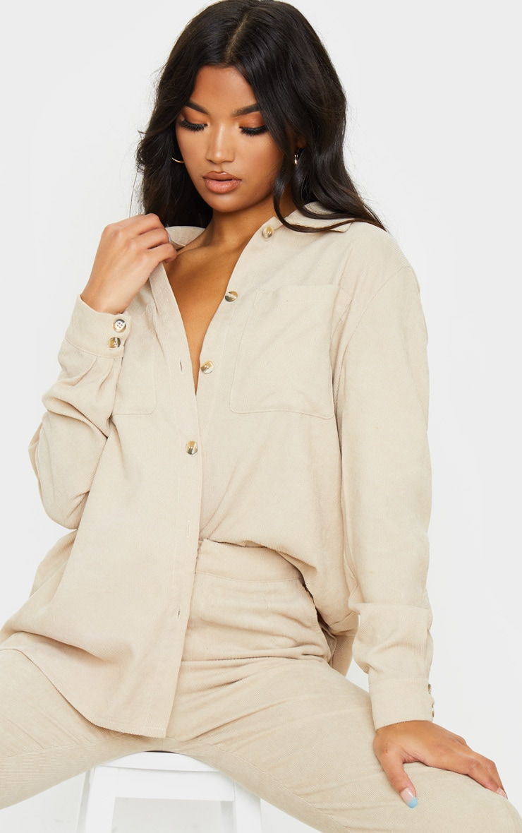 Camel Cord Button Front Oversized Shirt 2