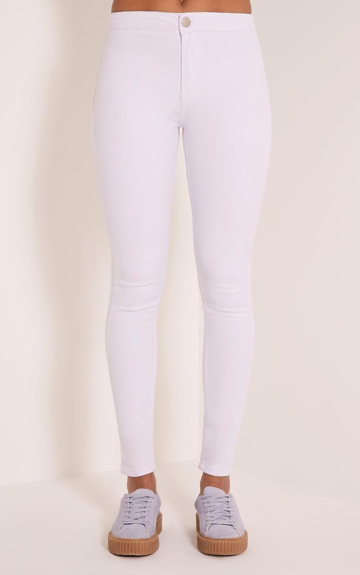 Kylie jean skinny taille mi-haute blanc 2