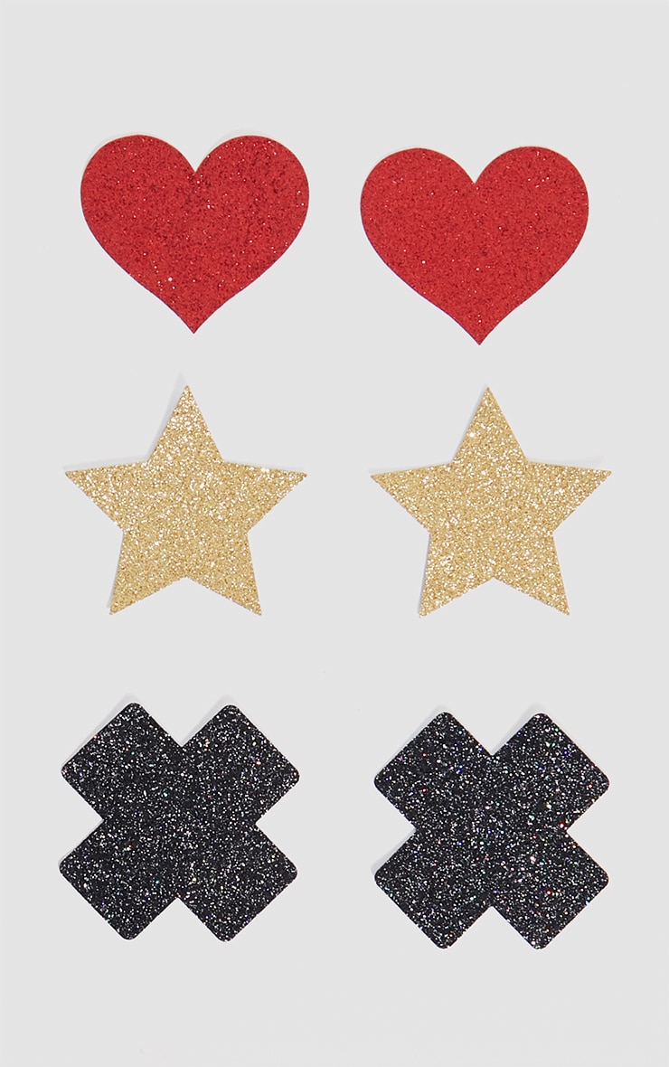 Black 3 Pack Glitter Cross, Stars  & Heart Nipple Covers 1