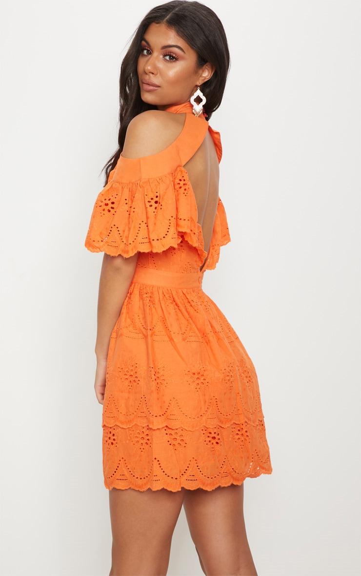 Bright Orange Broderie Anglaise Cold Shoulder Skater Dress 2