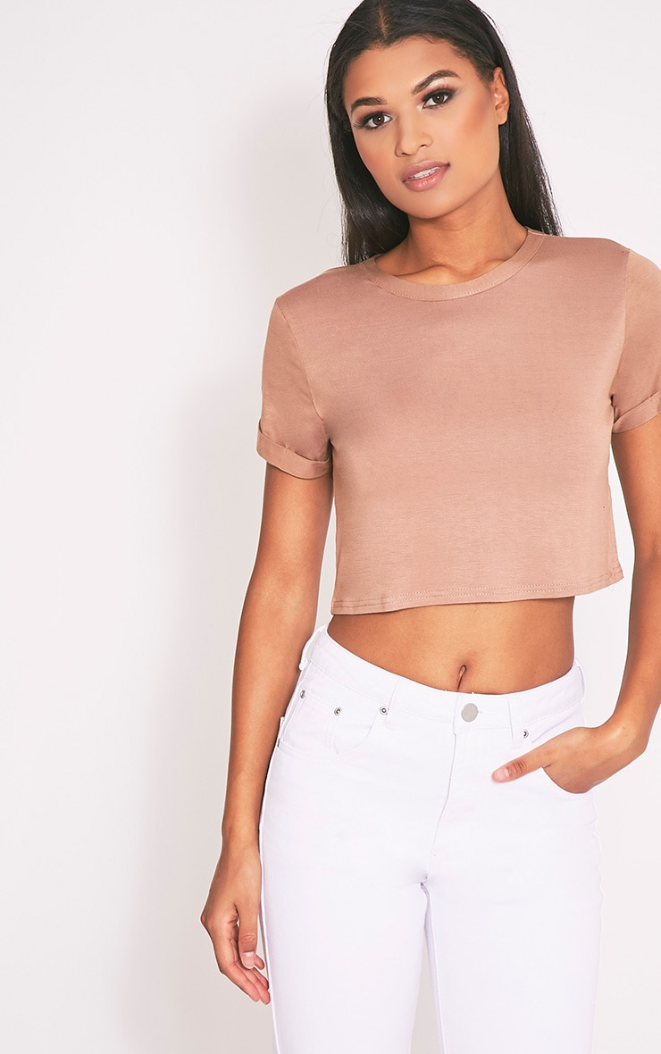 Basic Camel Roll Sleeve Crop T Shirt 4