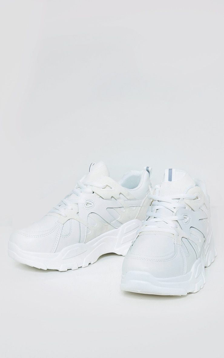 White Chunky Panelled Trainers 3