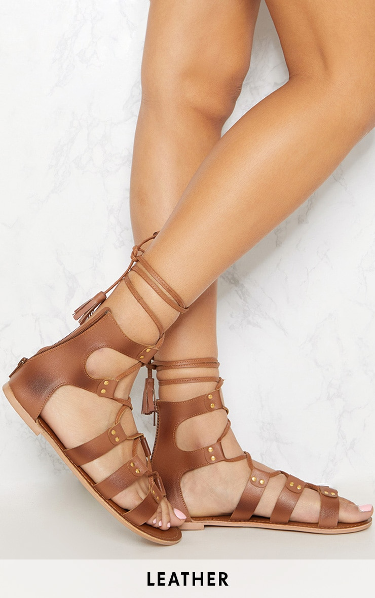 54e657d3ec2d Tan Leather Ghillie Sandal image 1