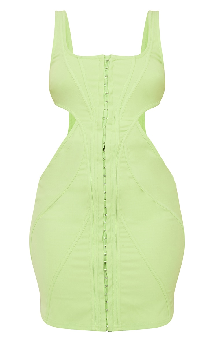 Lime Corset Cut Out Bodycon Dress 5