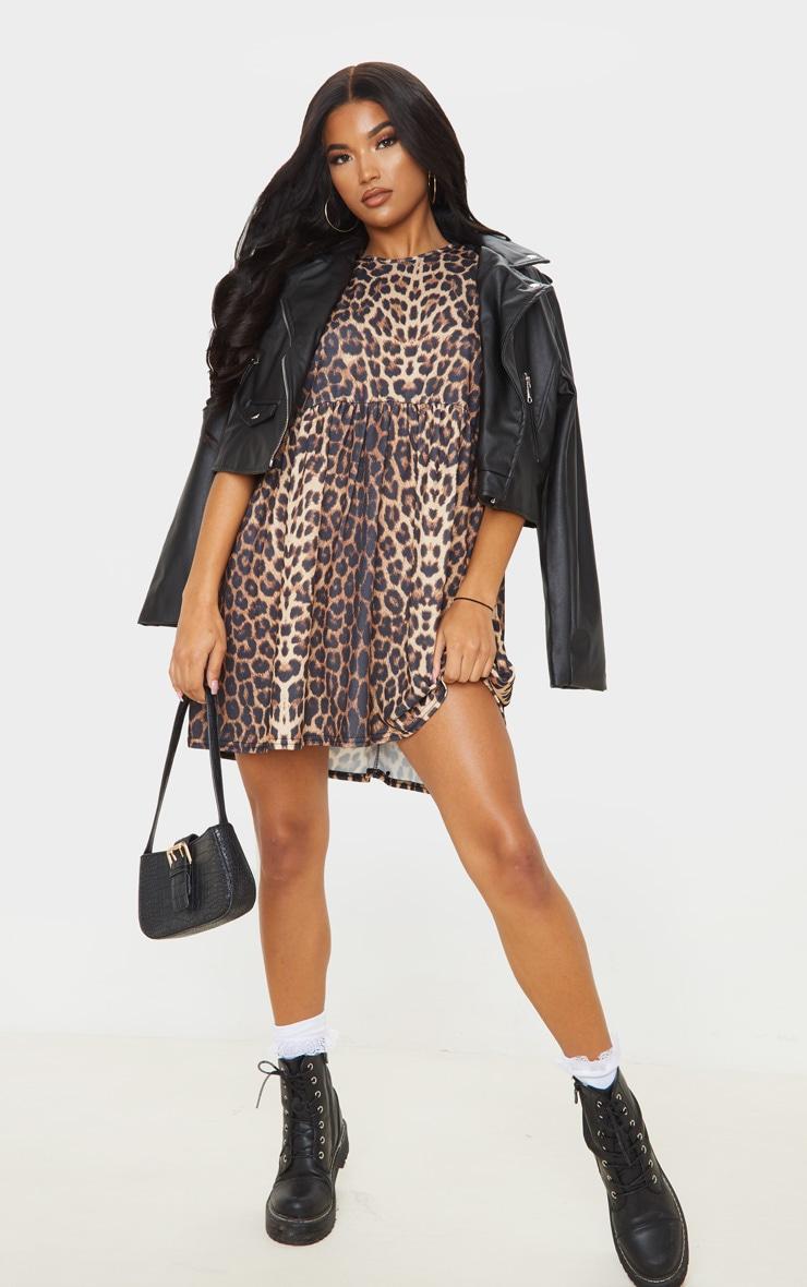 Beige Leopard Print Roll Sleeve Smock Dress 1