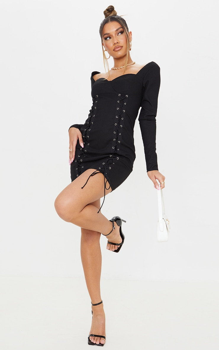 Black Woven Double Lace Up Long Sleeve Bodycon Dress 3