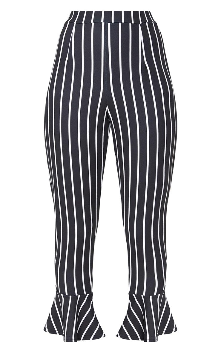 Black Striped Flare Hem Trousers 3
