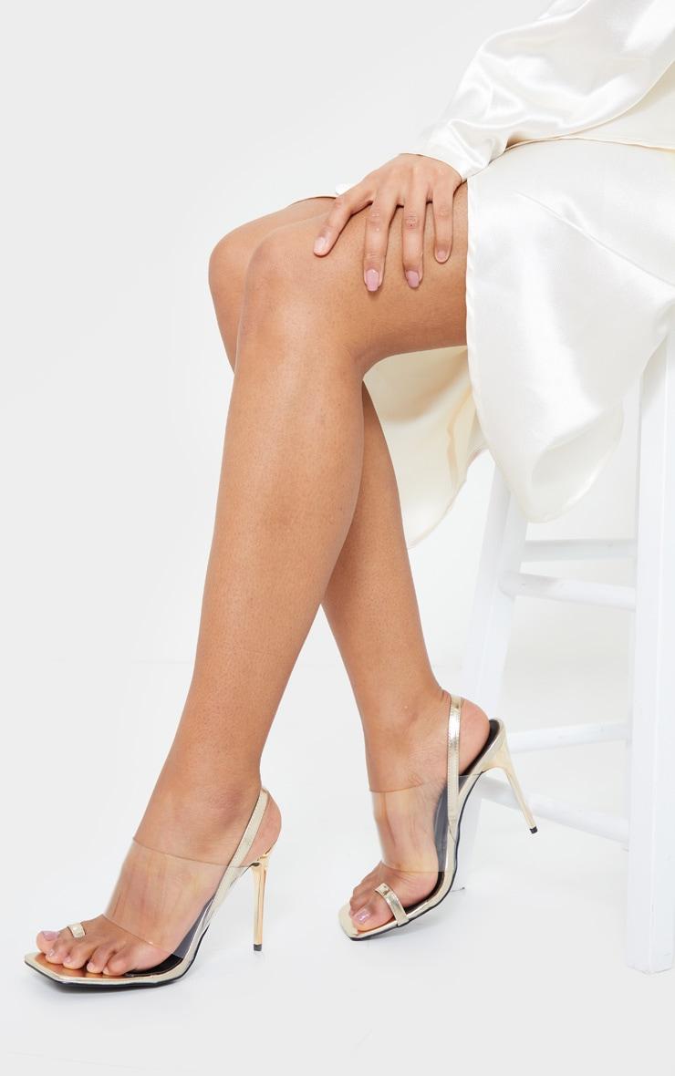 Gold Clear Strap Toe Loop Sling Back High Heel Sandals 2