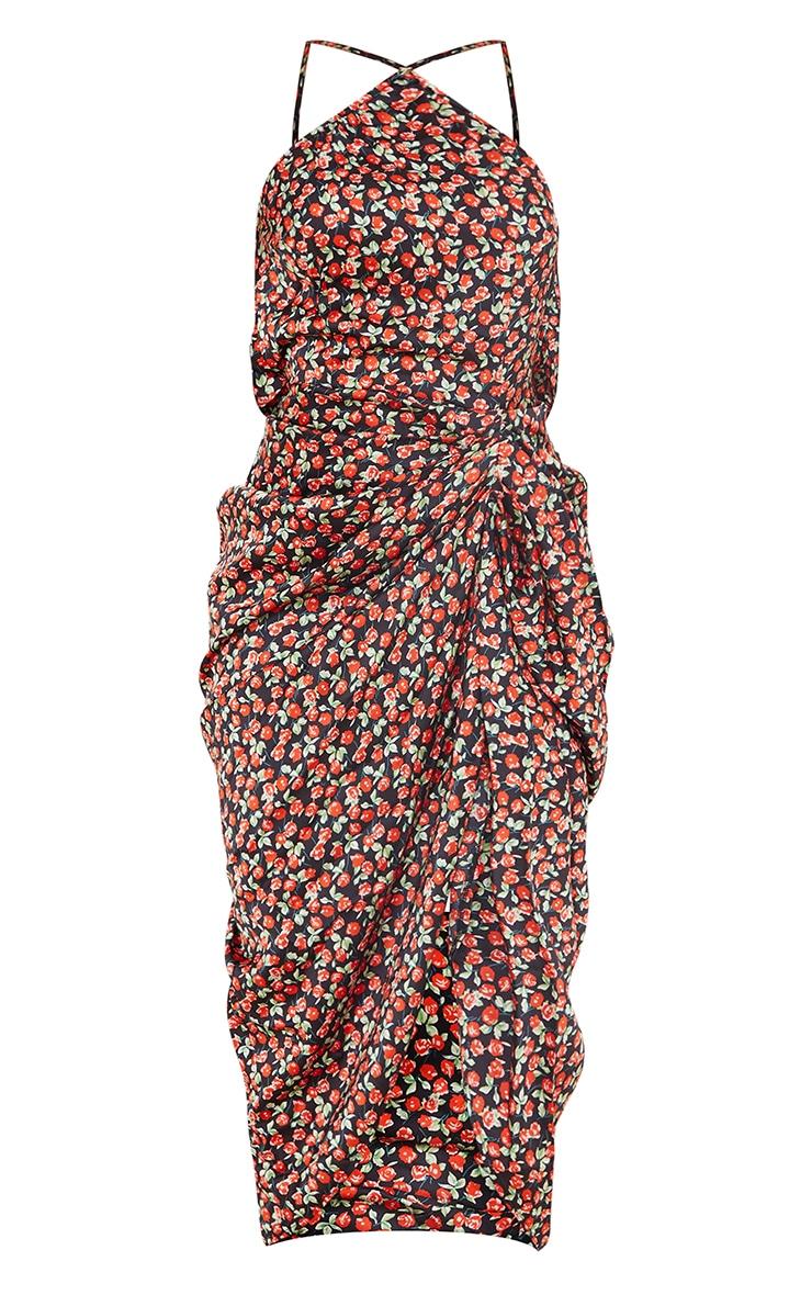 Black Floral Print One Shoulder Open Back Draped Midi Dress 5
