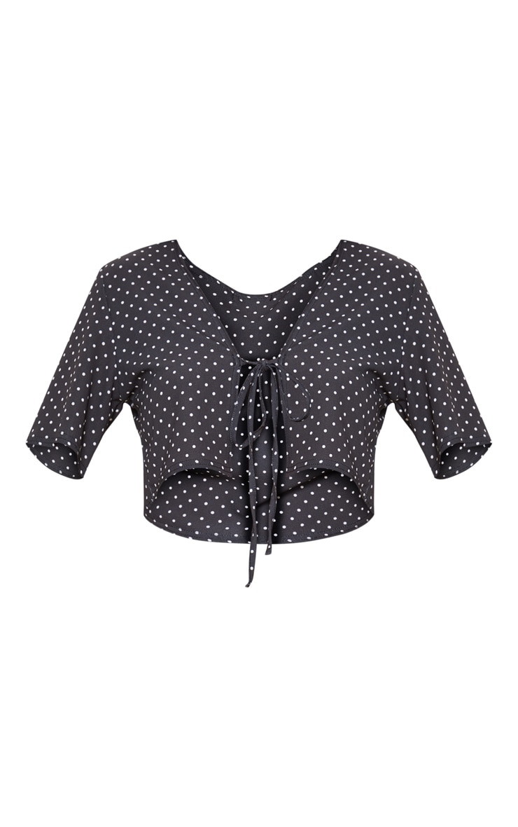 Black Polka Dot Printed Tie Front Short Sleeve Blouse 3